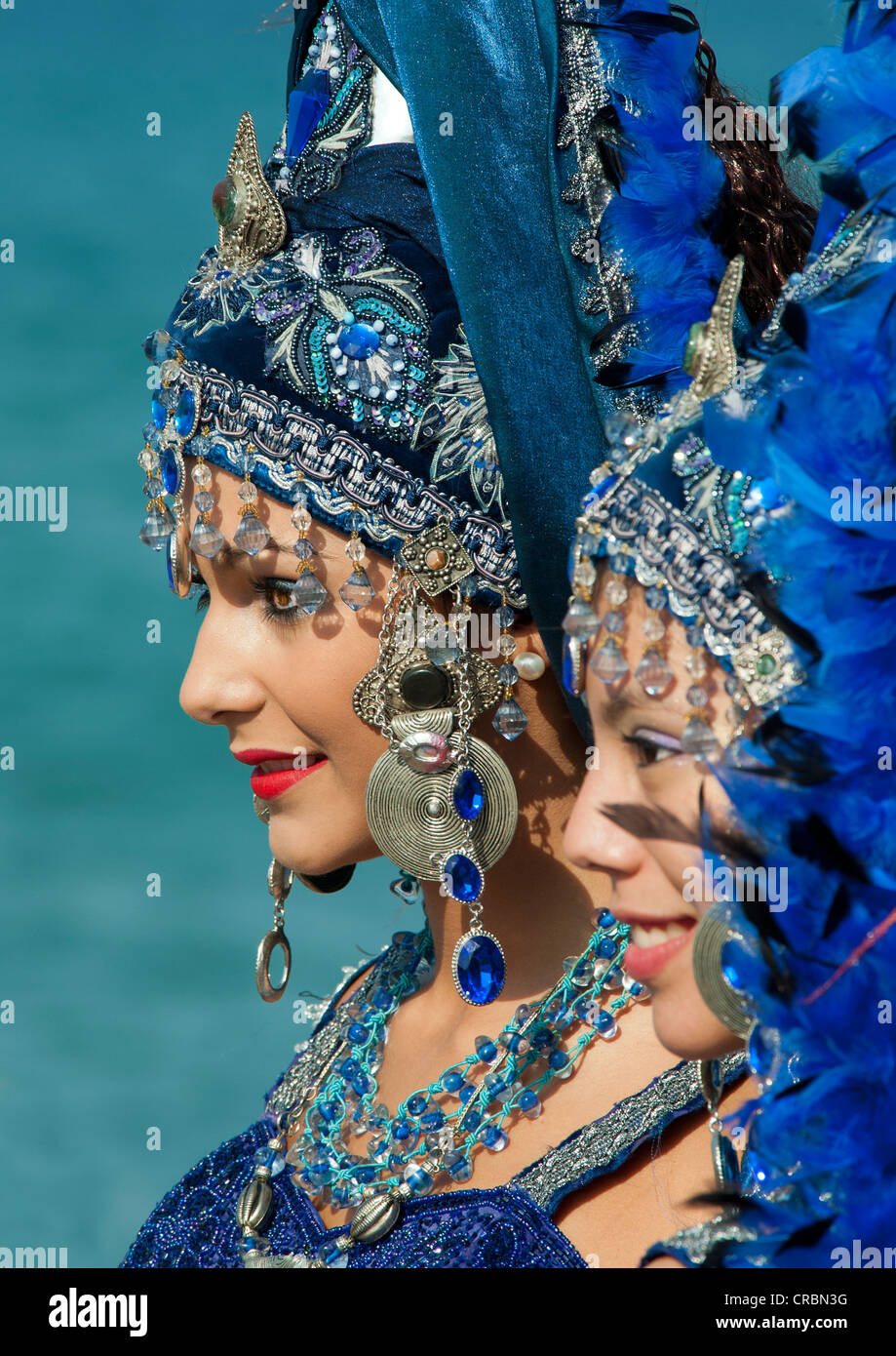 Women in Traditional Moors Costume at the Moors and Christians Fiesta in Mojacar, Almeria, Andalusia, Spain Stock Photo