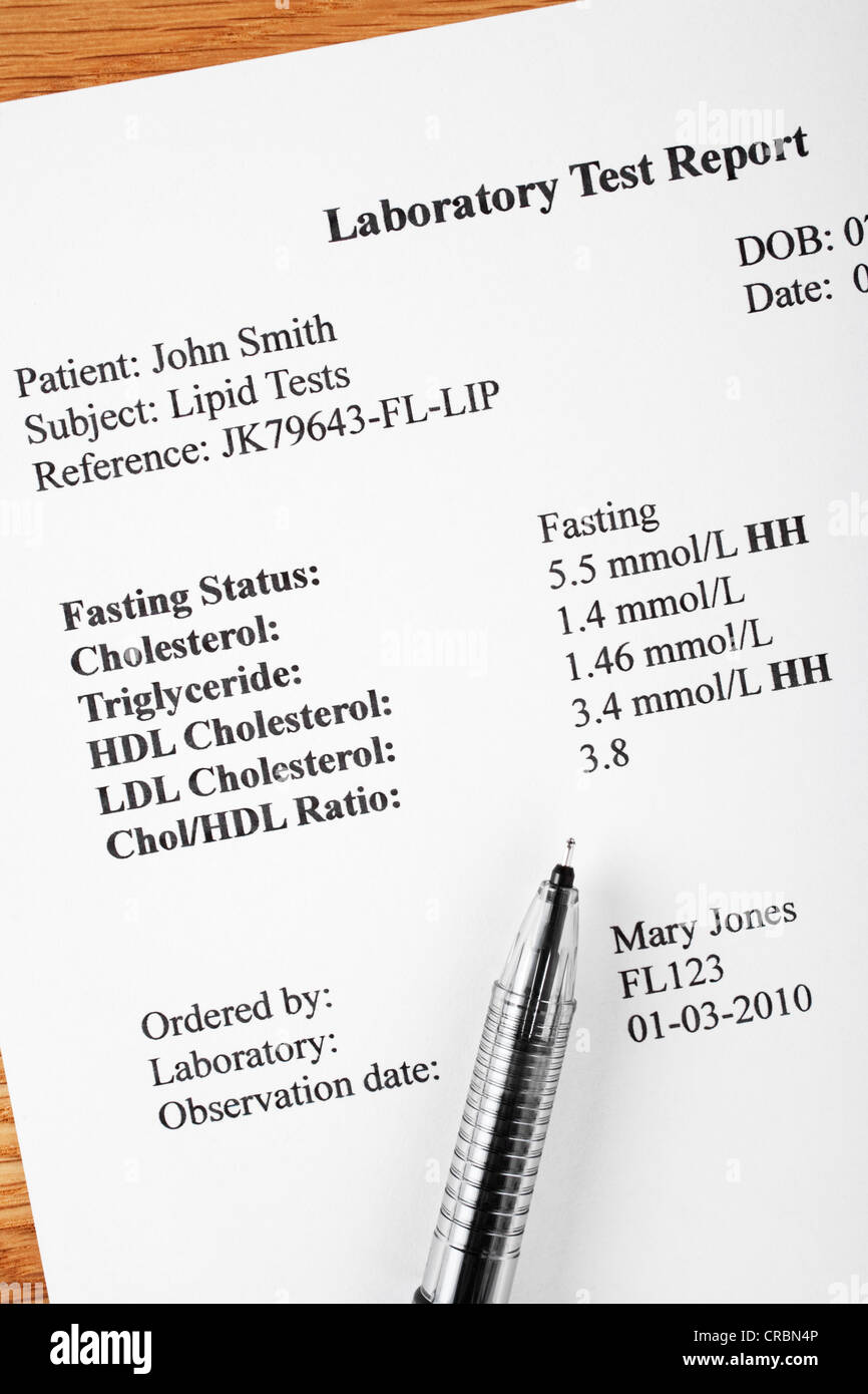 Laboratory report of cholesteroll test. Names and reference numbers are fictitious. - Stock Image