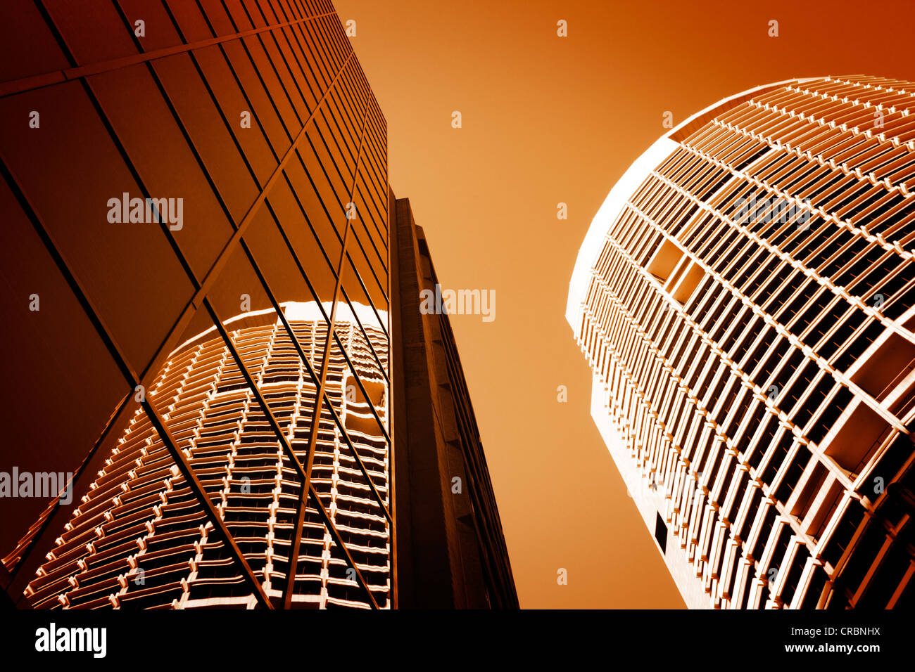 Tall buildings in Sydney's CBD sepia toned. - Stock Image