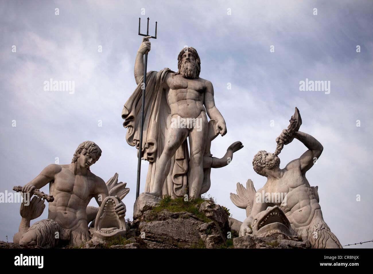 Fontana del Nettuno, Neptune fountain on Piazza del Popolo square in Rome, Italy, Europe - Stock Image