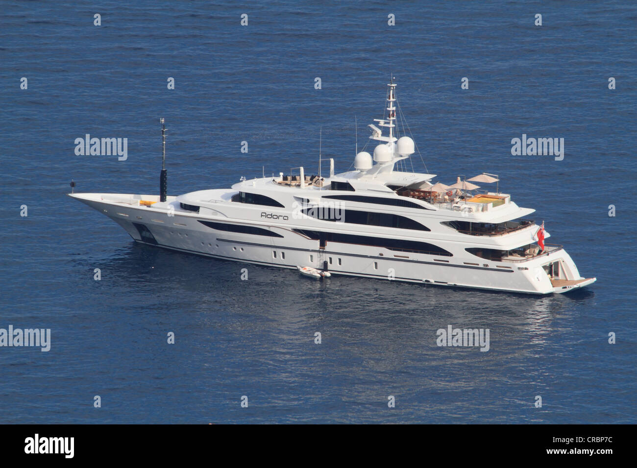 Motor yacht, Adora, built by Benetti, overall length, 61.5 metres, built in 2010, on the Cote d'Azur, France, - Stock Image