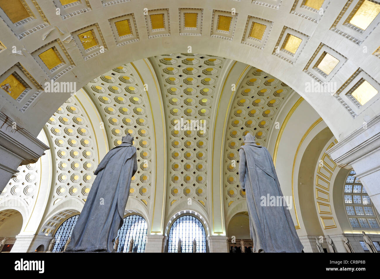 Interior view, Great Main Hall, larger than life statues, waiting room, Union Station, Washington DC, District of - Stock Image