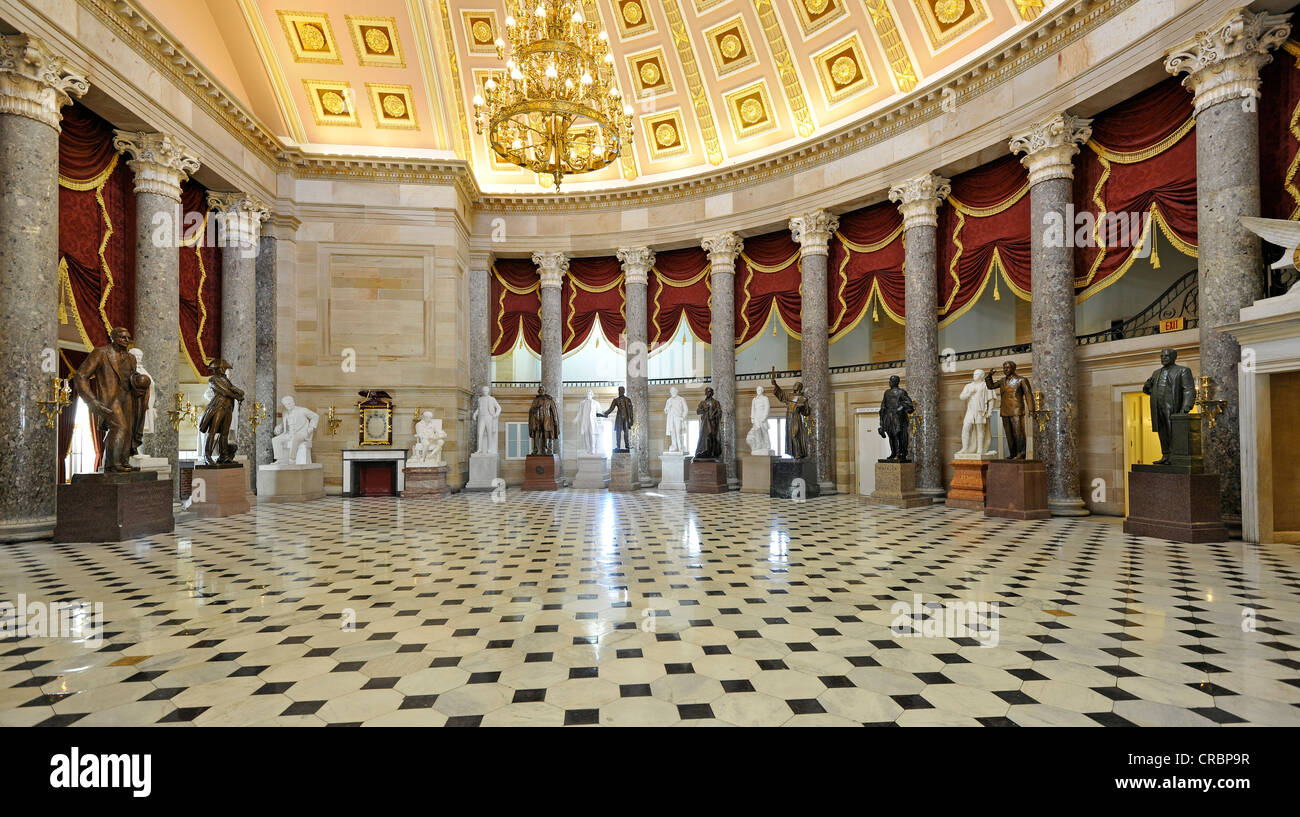 National Statuary Hall Collection with statues of famous US citizens, United States Capitol, Capitol Hill, Washington - Stock Image