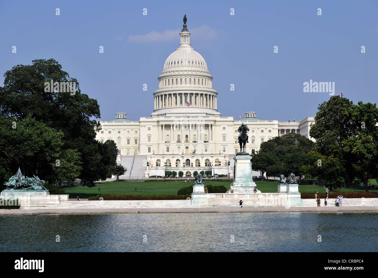 Reflecting Pool, east view, United States Capitol, Capitol Hill, Washington DC, District of Columbia, United States - Stock Image