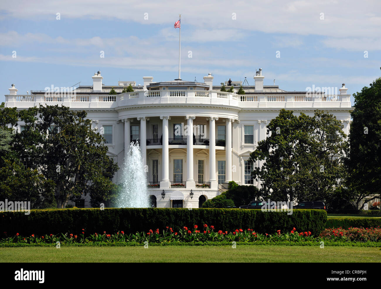 View of the South Portico with the Blue Room, The White House, Washington DC, District of Columbia, United States - Stock Image