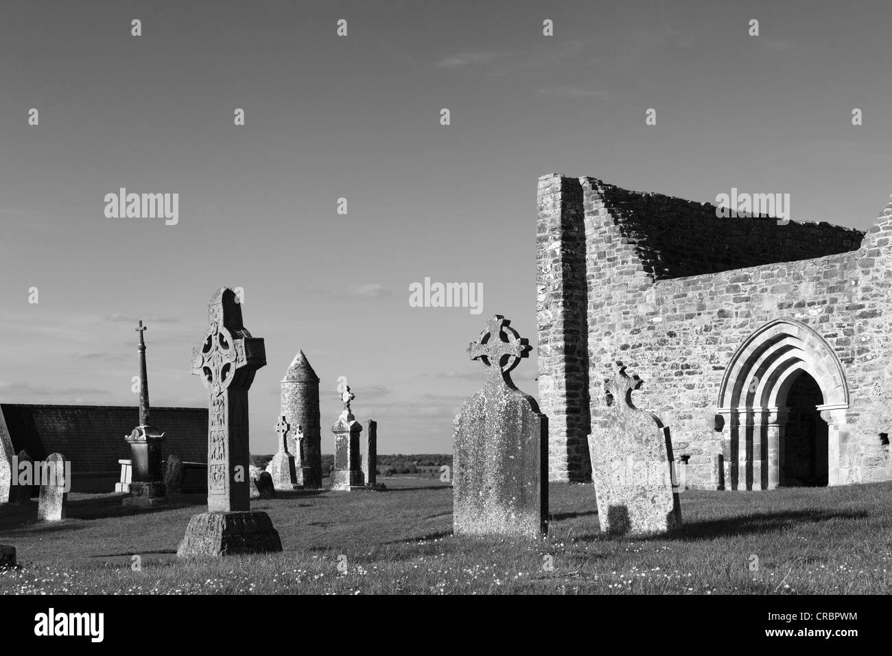 Copy of a high cross, Cross of the Scriptures, and the cathedral, Clonmacnoise Monastery, County , Leinster, Ireland, - Stock Image
