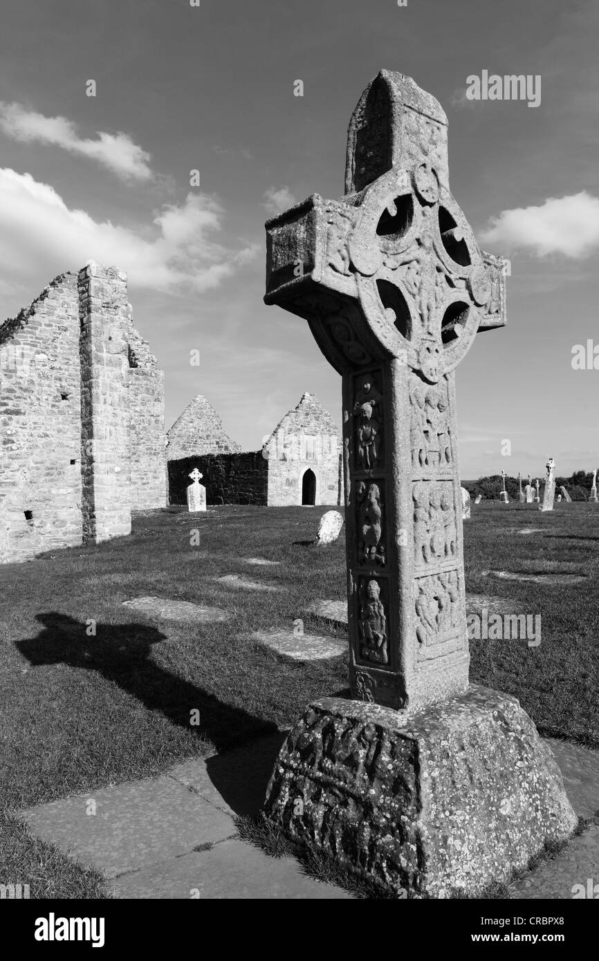 Copy of a high cross, Cross of the Scriptures, Clonmacnoise Monastery, County Offaly, Leinster, Ireland, Europe - Stock Image
