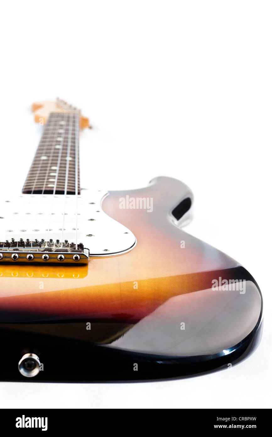 Electric Guitar Close Up on white background. - Stock Image