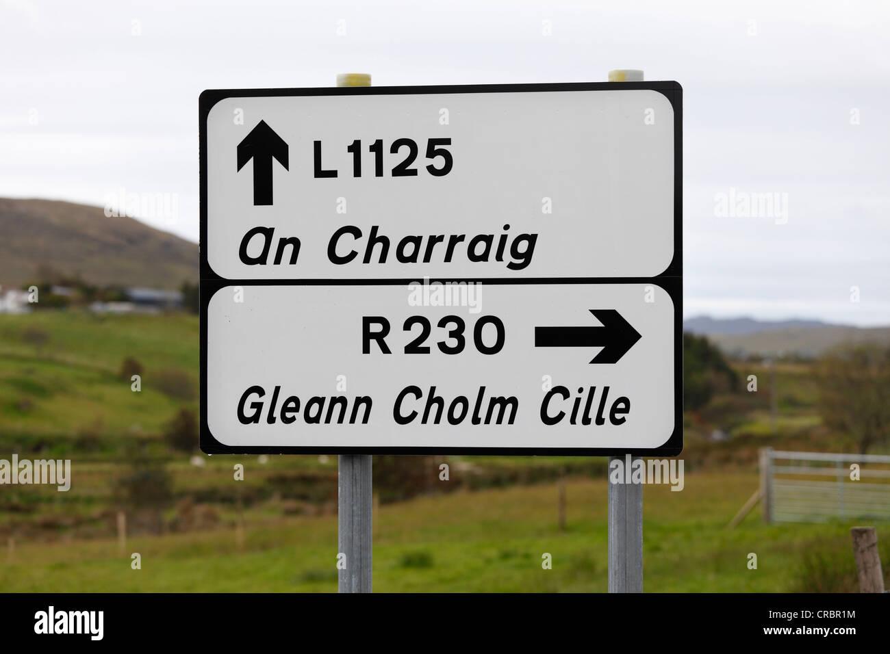 Sign in Irish language, Gaelic, Carrick, County Donegal, Ireland, Europe, PublicGround - Stock Image