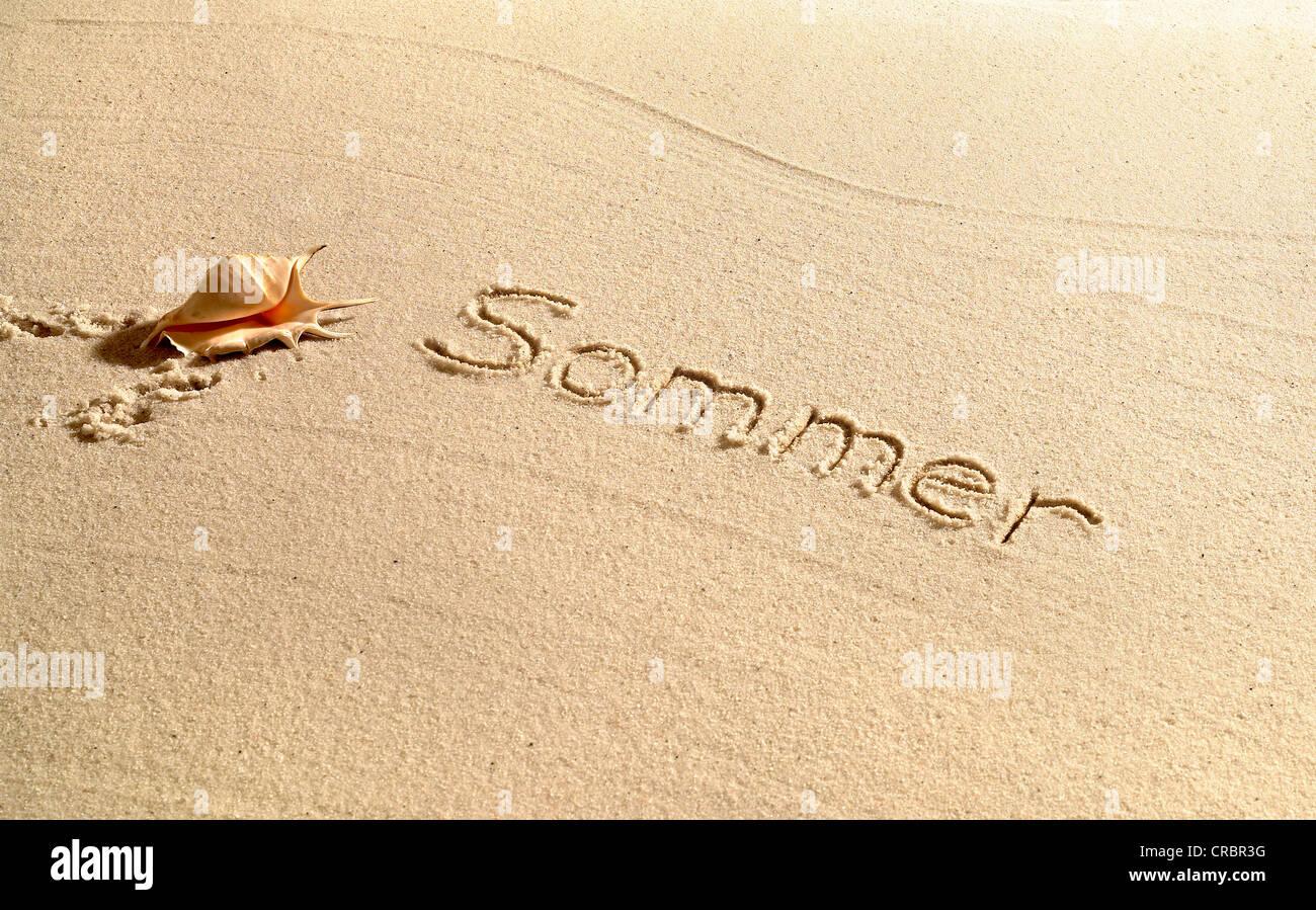 Sommer written in sand - Stock Image
