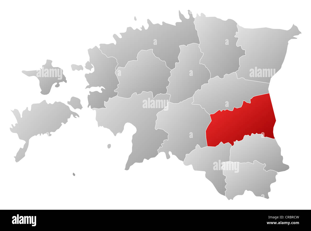 political map of estonia with the several counties where tartu is highlighted stock image