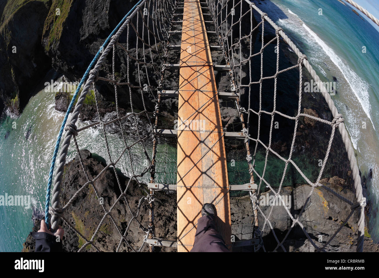 Carrick-a-Reed Rope Bridge, County Antrim, Northern Ireland, United Kingdom, Europe - Stock Image