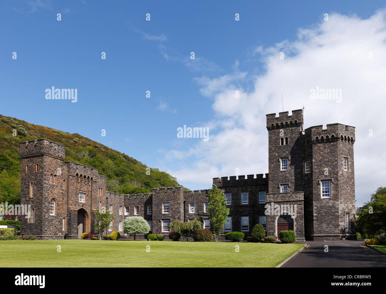 Garron Tower, St Killian's College, Glens of Antrim, County Antrim, Northern Ireland, United Kingdom, Europe - Stock Image