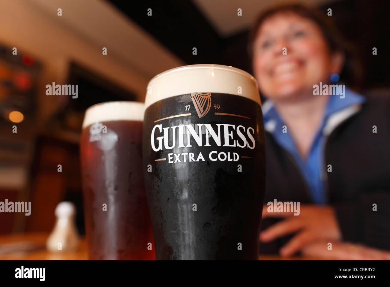Pint of Guinness, stout beer, Mary McBride's Pub, Cushendun, County Antrim, Northern Ireland, United Kingdom, - Stock Image