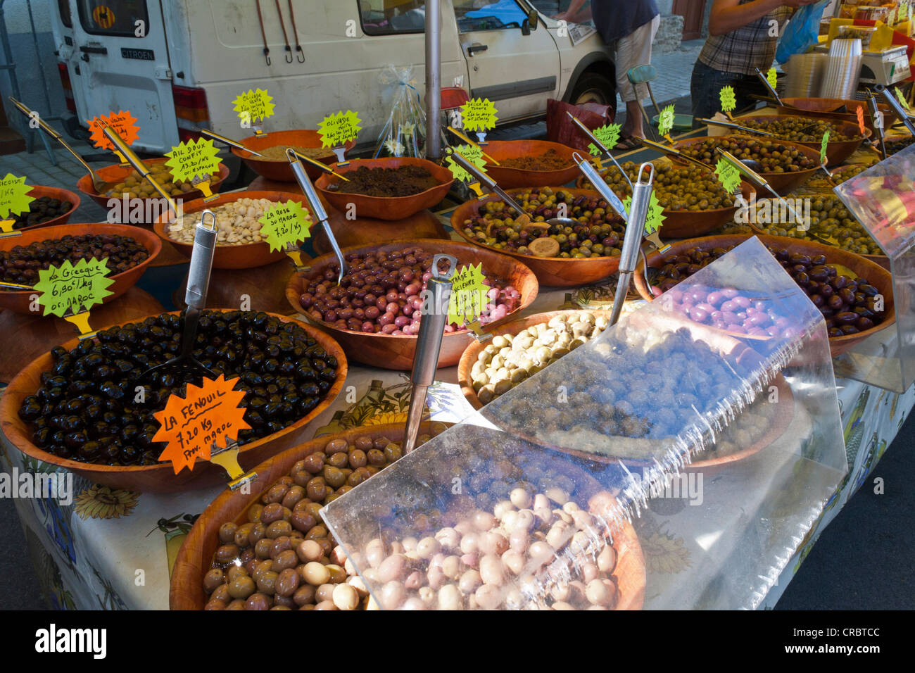 A market stall selling fresh olives in Ceret, Eastern Pyrenees, France Stock Photo