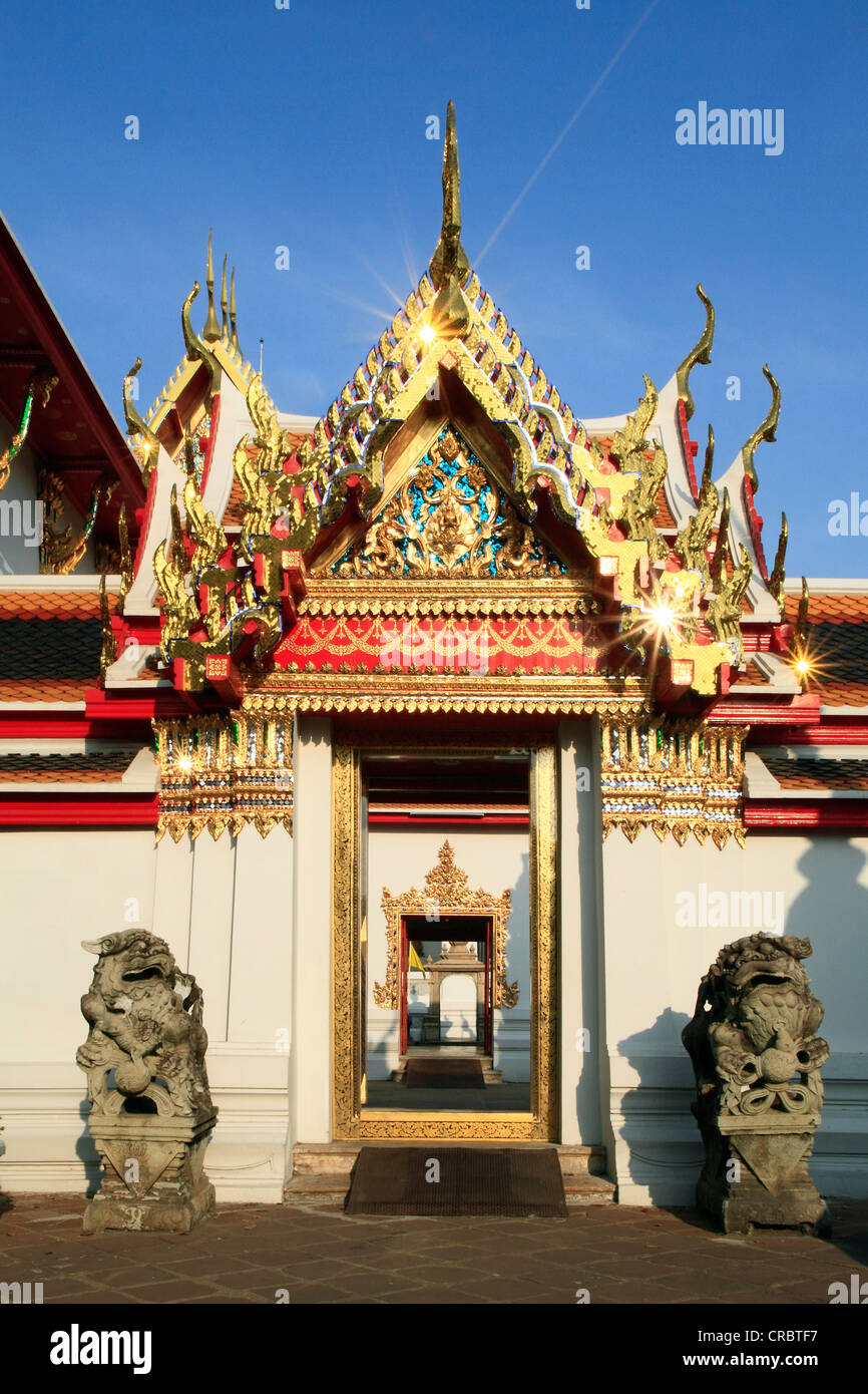 Looking through several gates of the Buddhist Wat Pho temple, Bangkok, Thailand, Asia Stock Photo