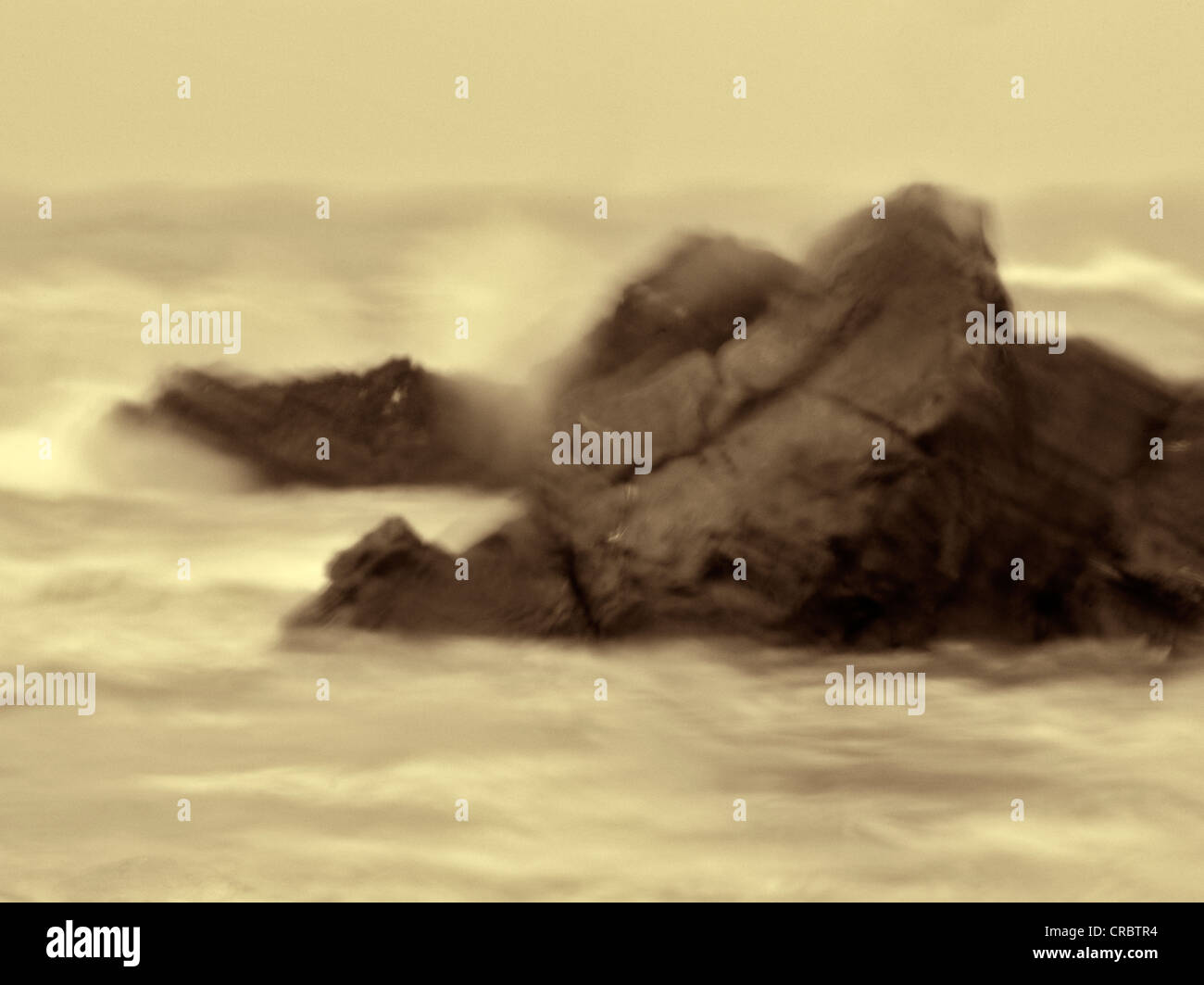 Rainy day image of rocks and waves at Harris Beach State Park, Oregon - Stock Image