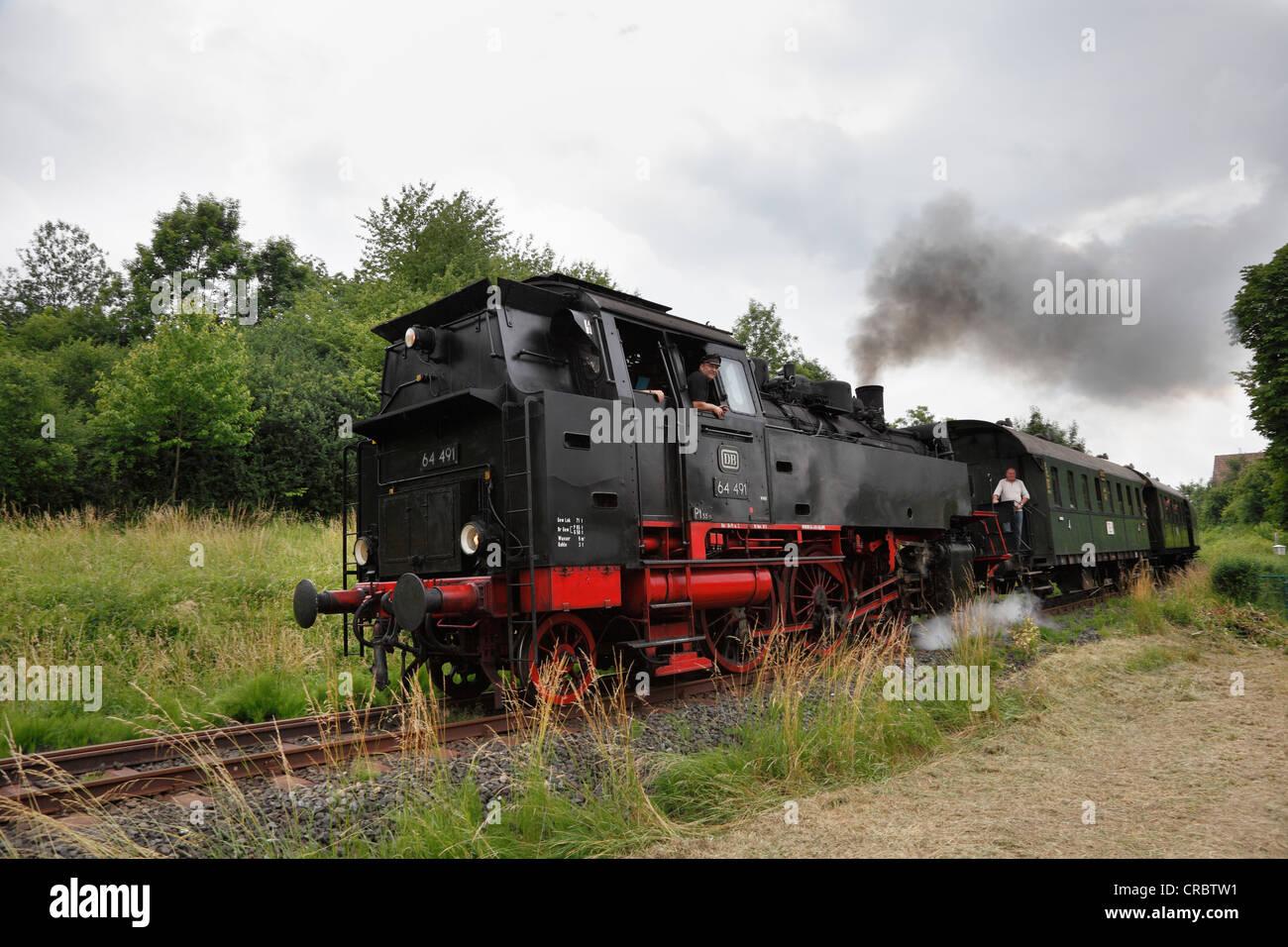 64 491 steam locomotive, Dampfbahn Fraenkische Schweiz, Franconian Switzerland Steam Railway, Ebermannstadt, Upper - Stock Image