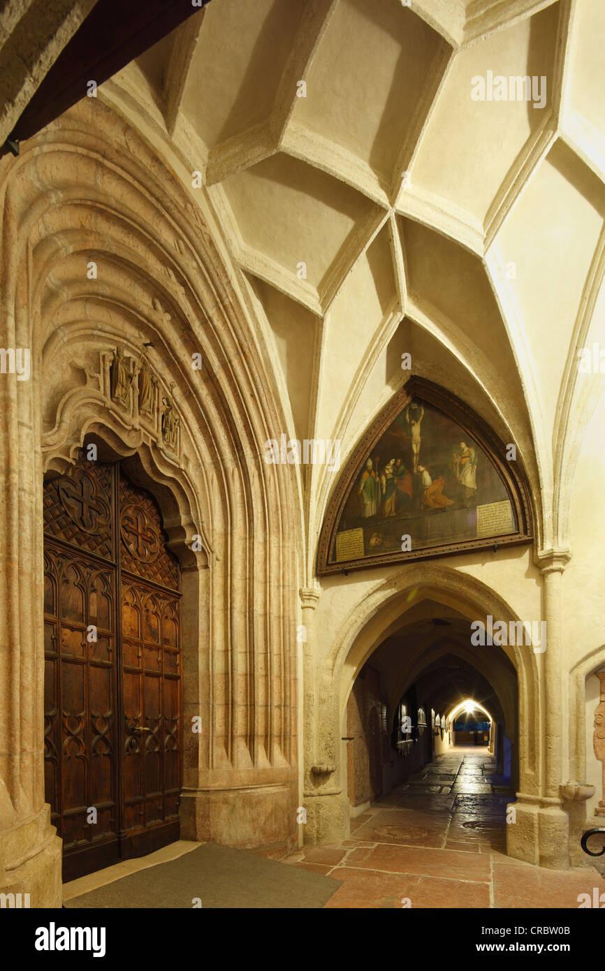 Main entrance and portico of the Collegiate Church, Laufen an der Salzach, Rupertiwinkel, Upper Bavaria, Bavaria - Stock Image