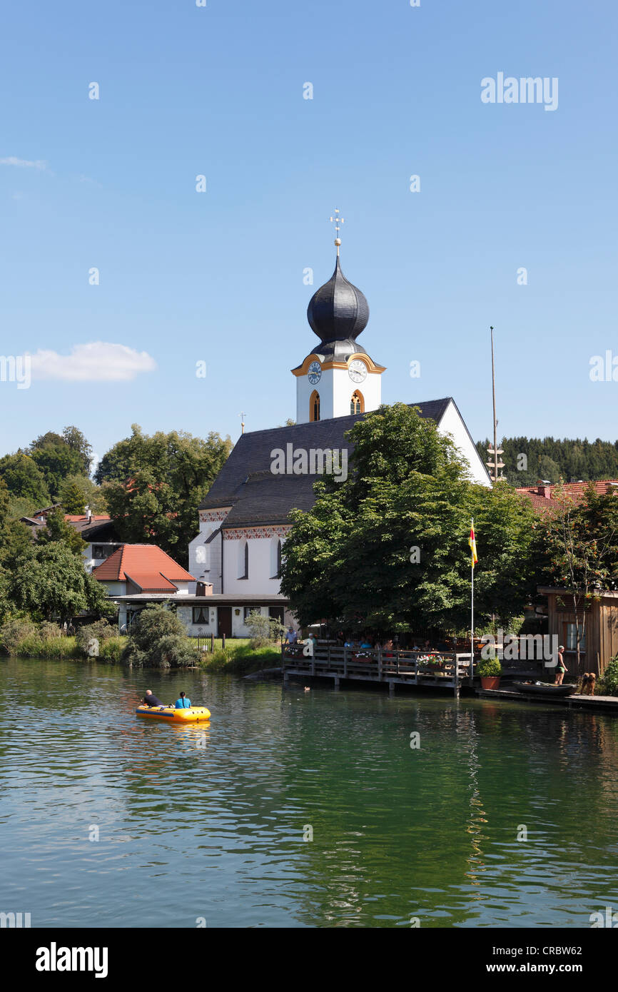 Truchtlaching and the Alz River, community of Seeon-Seebruck, Chiemgau, Upper Bavaria, Bavaria, Germany, Europe - Stock Image