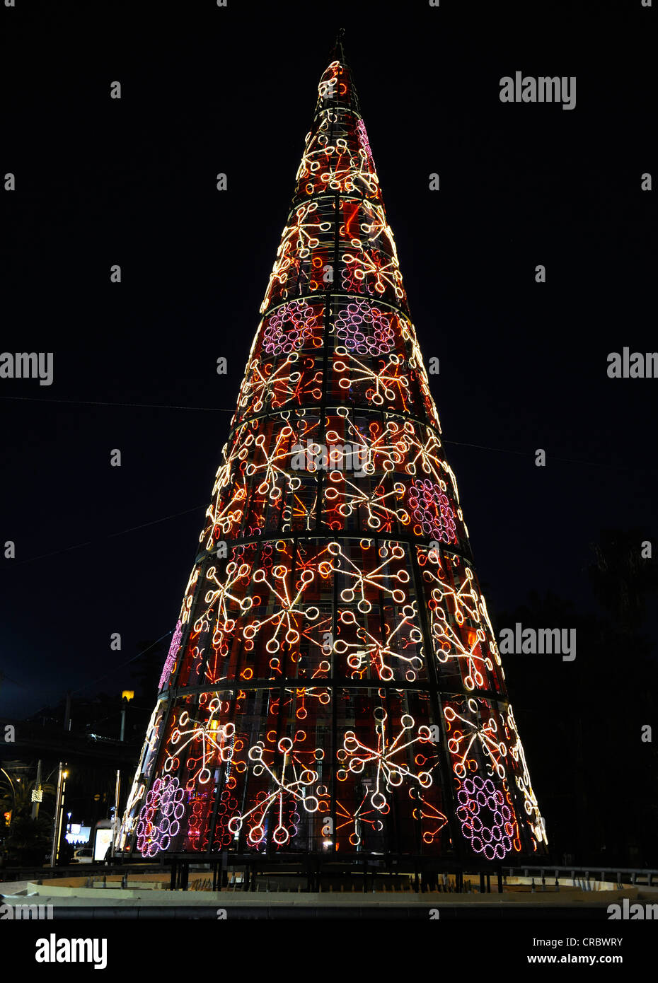 Christmas Spain.Christmas Lights Colourful Christmas Tree Malaga Spain
