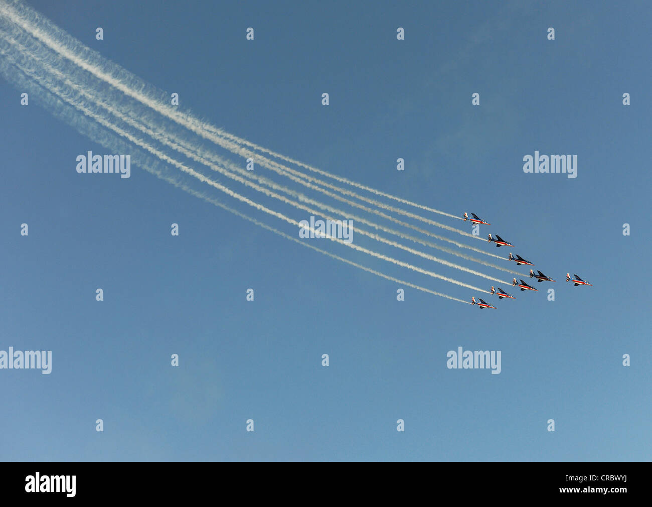 Alpha Jets of the Patrouille de France in action during the Dubai Air Show, United Arab Emirates, Middle East - Stock Image