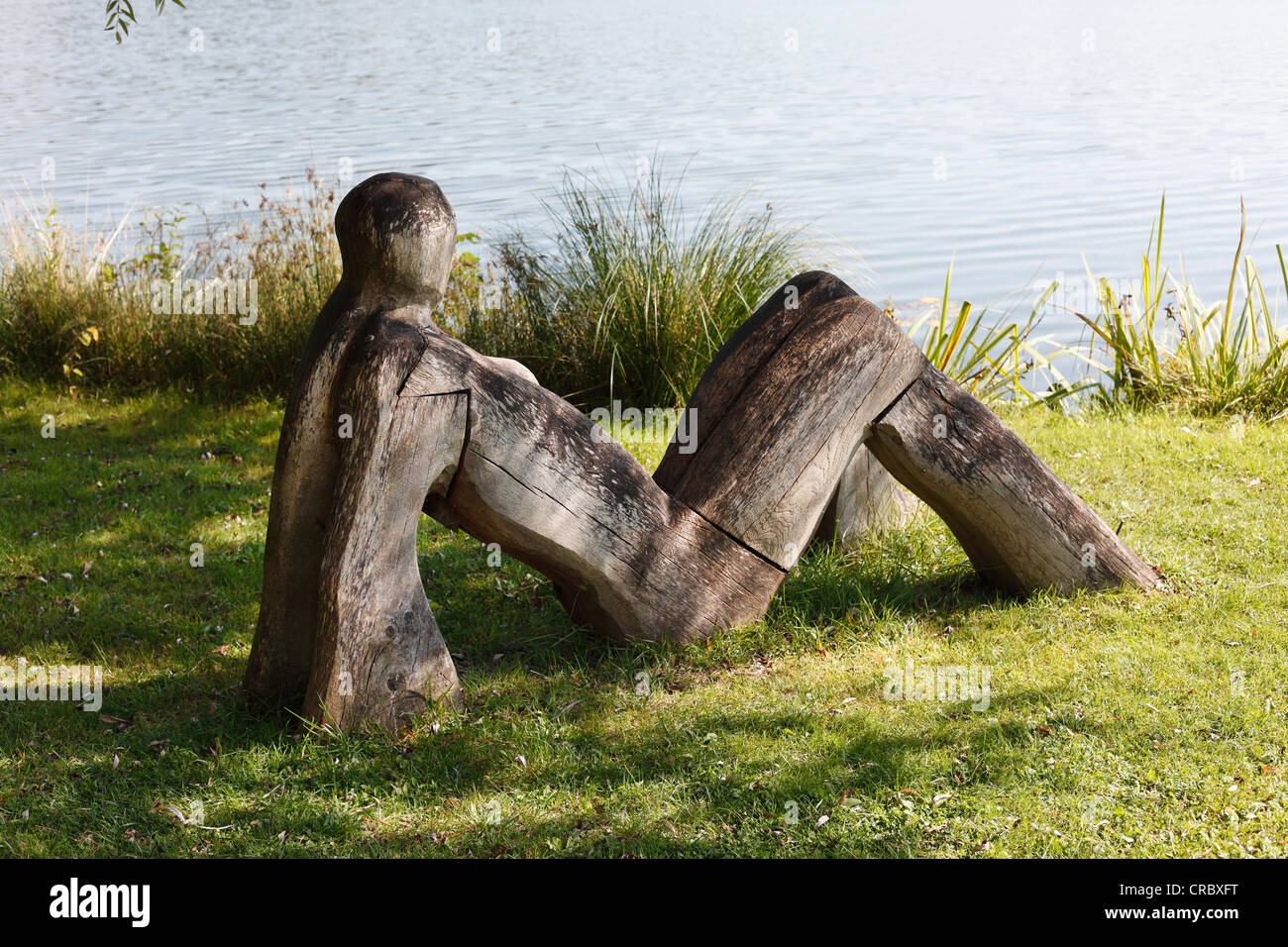 Sculpture from Galerie Risse gallery, Lake Wessling, Wessling, Fuenfseenland, Five Lakes district, Upper Bavaria, - Stock Image