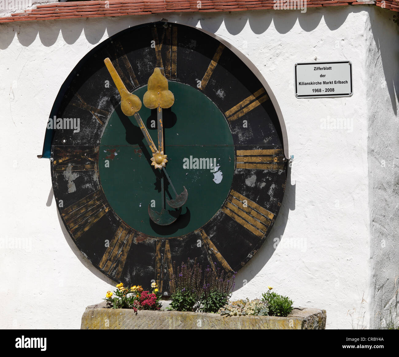 Dial of the clock from a church tower, Rangau Craftsman Museum, Markt Erlbach, Middle Franconia, Franconia, Bavaria - Stock Image
