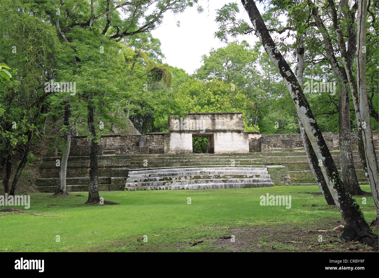 Audiencia building seen from Plaza B, Cahal Pech mayan ruins, near San Ignacio, Cayo, west Belize, Central America - Stock Image