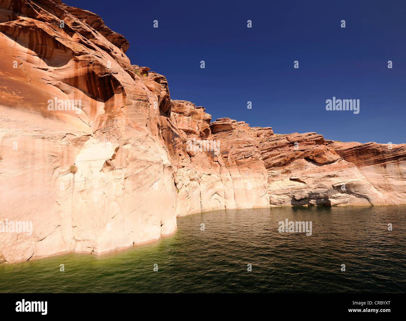 So-called bath tub rings of Antelope Canyon as seen from Lake Powell, indicators of peak water levels, Page - Stock Image