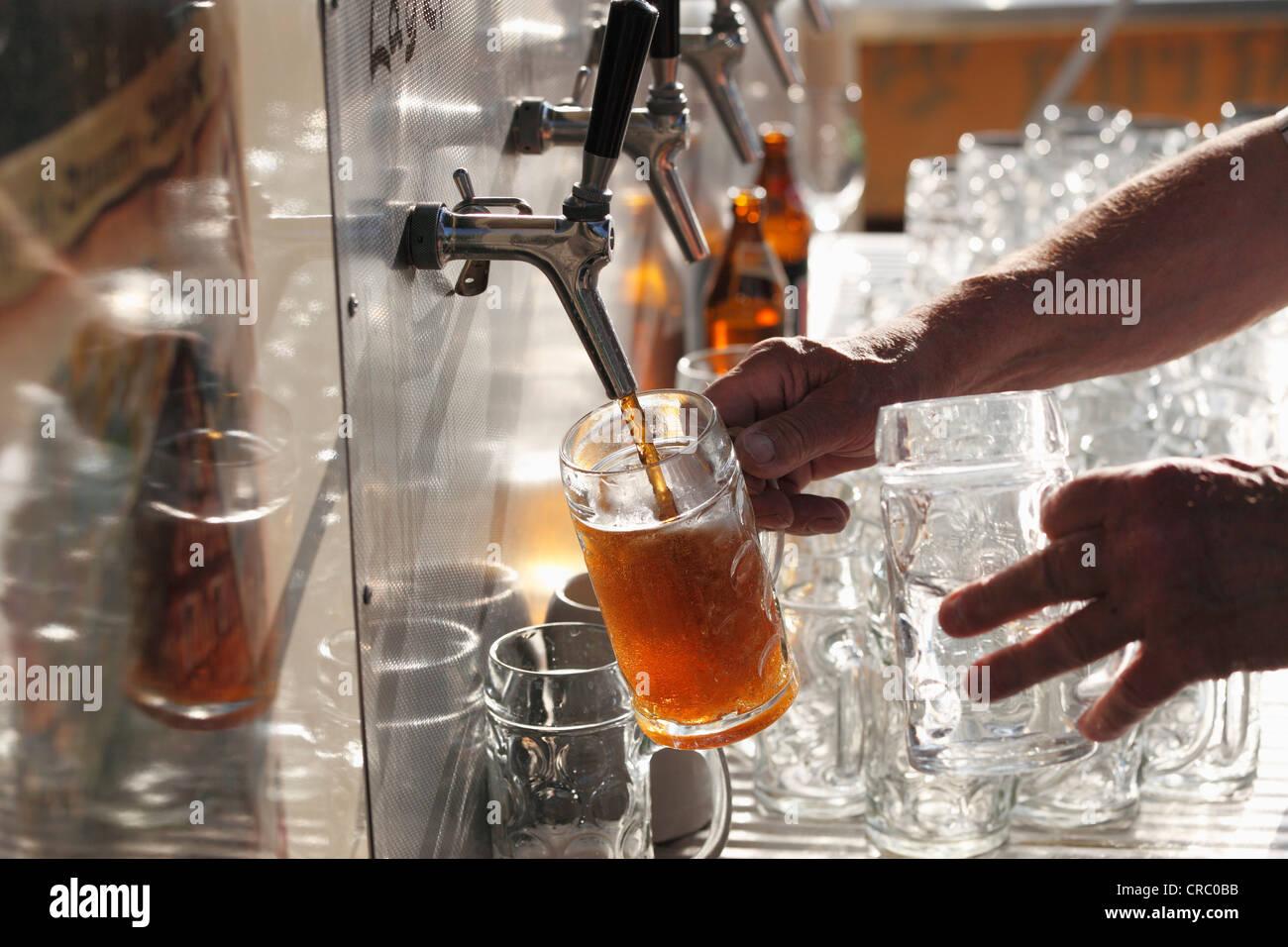 Beer taps, Brauereigasthof Krug, brewery, restaurant, Breitenlesau, Waischenfeld, Franconian Switzerland, Upper - Stock Image