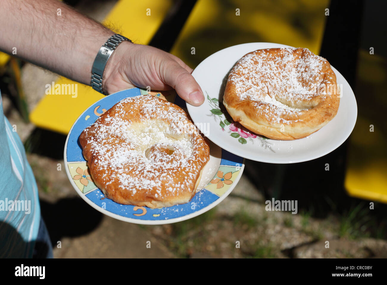 'Auszogne', traditional South German fried doug food in ring-shape with a skin in the middle, Franconian - Stock Image