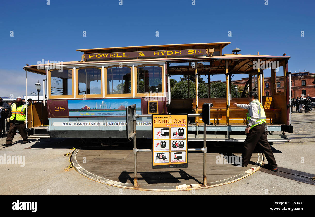 Turning manoeuvre, cable car turning point, cable tramway, Powell and Hyde Street, San Francisco, California - Stock Image