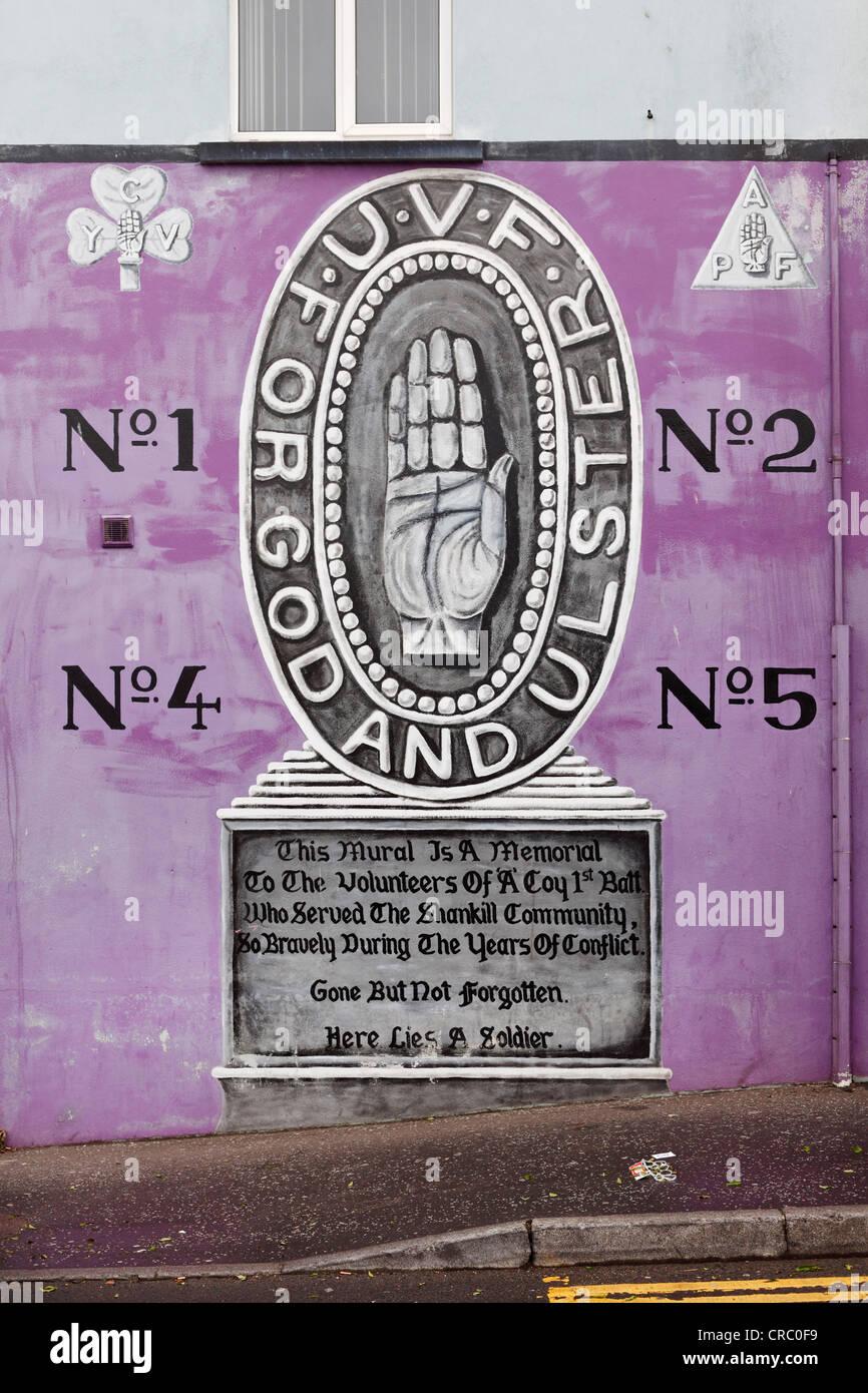 Ulster hand, Protestant mural, Shankill Road, West Belfast, Belfast, Ulster, Northern Ireland, United Kingdom, Europe - Stock Image