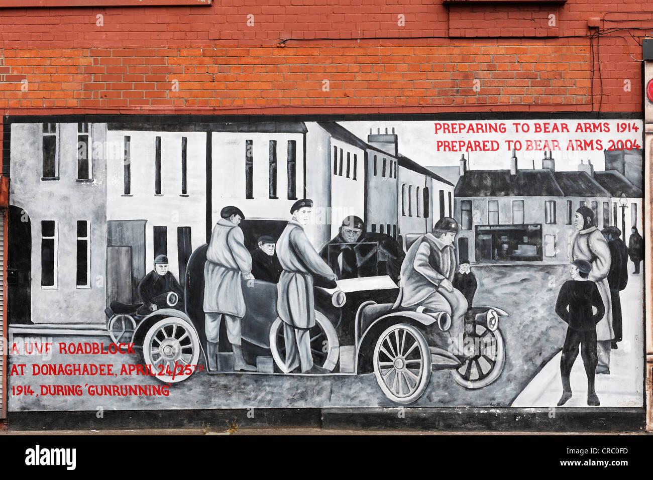 Protestant mural, Shankill Road, West Belfast, Belfast, Northern Ireland, United Kingdom, Europe, PublicGround - Stock Image