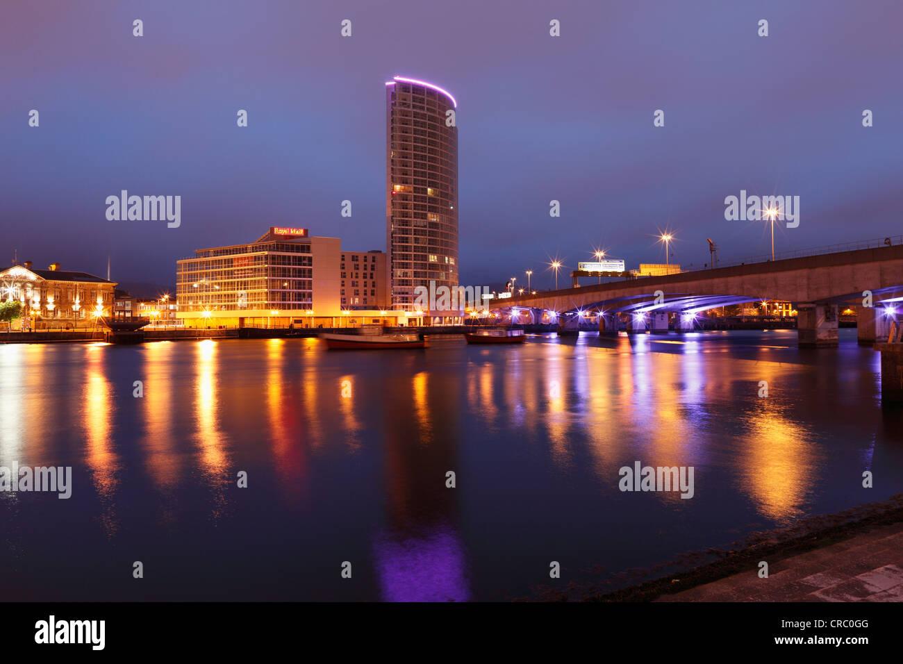 Obel Tower overlooking the River Lagan, Belfast, Northern Ireland, United Kingdom, Europe, PublicGround - Stock Image