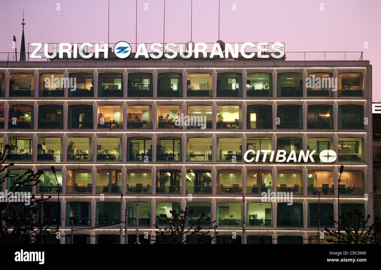 Branch of Citibank and Zurich Assurances in Geneva, Switzerland - Stock Image