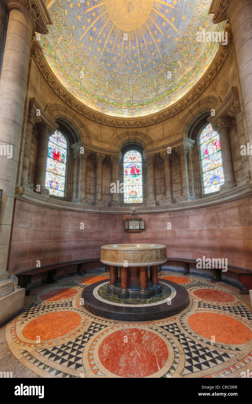 Baptistery with mosaic The Creation, St. Anne's Cathedral, Belfast, Northern Ireland, Ireland, Great Britain, - Stock Image