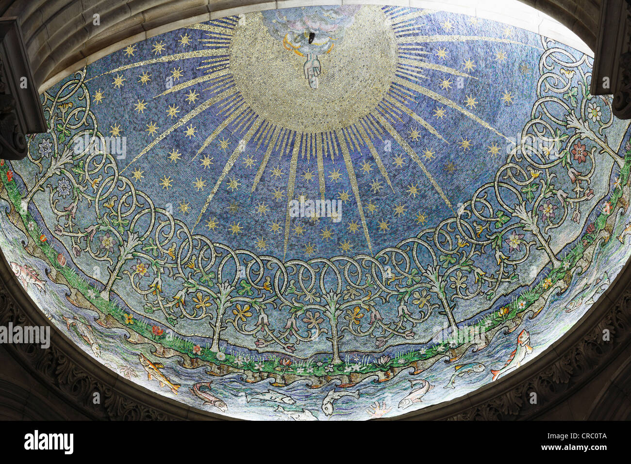 Mosaic The Creation in the baptistery, St. Anne's Cathedral, Belfast, Northern Ireland, Ireland, Great Britain, - Stock Image