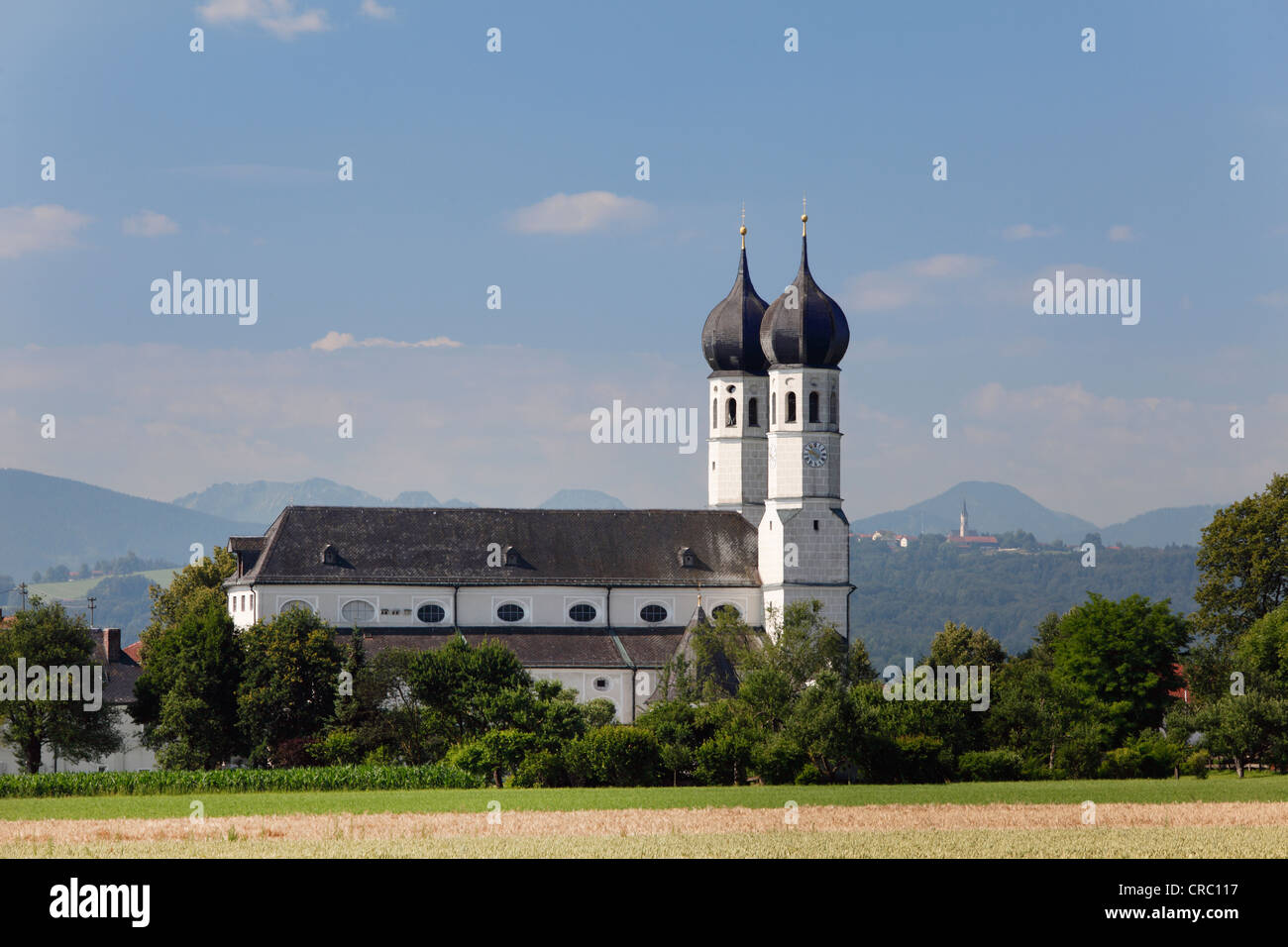 Holy Trinity pilgrimage church, church of Heilige Dreifaltigkeit, Weihenlinden, parish of Bruckmuehl, Upper Bavaria, - Stock Image