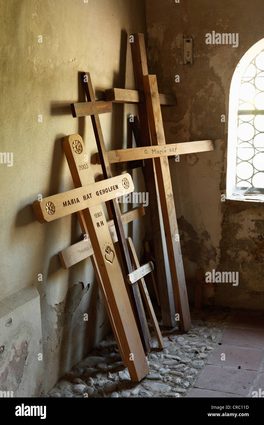 Tower gallery at Holy Trinity pilgrimage church, church of Heilige Dreifaltigkeit, Weihenlinden, parish of Bruckmuehl - Stock Image