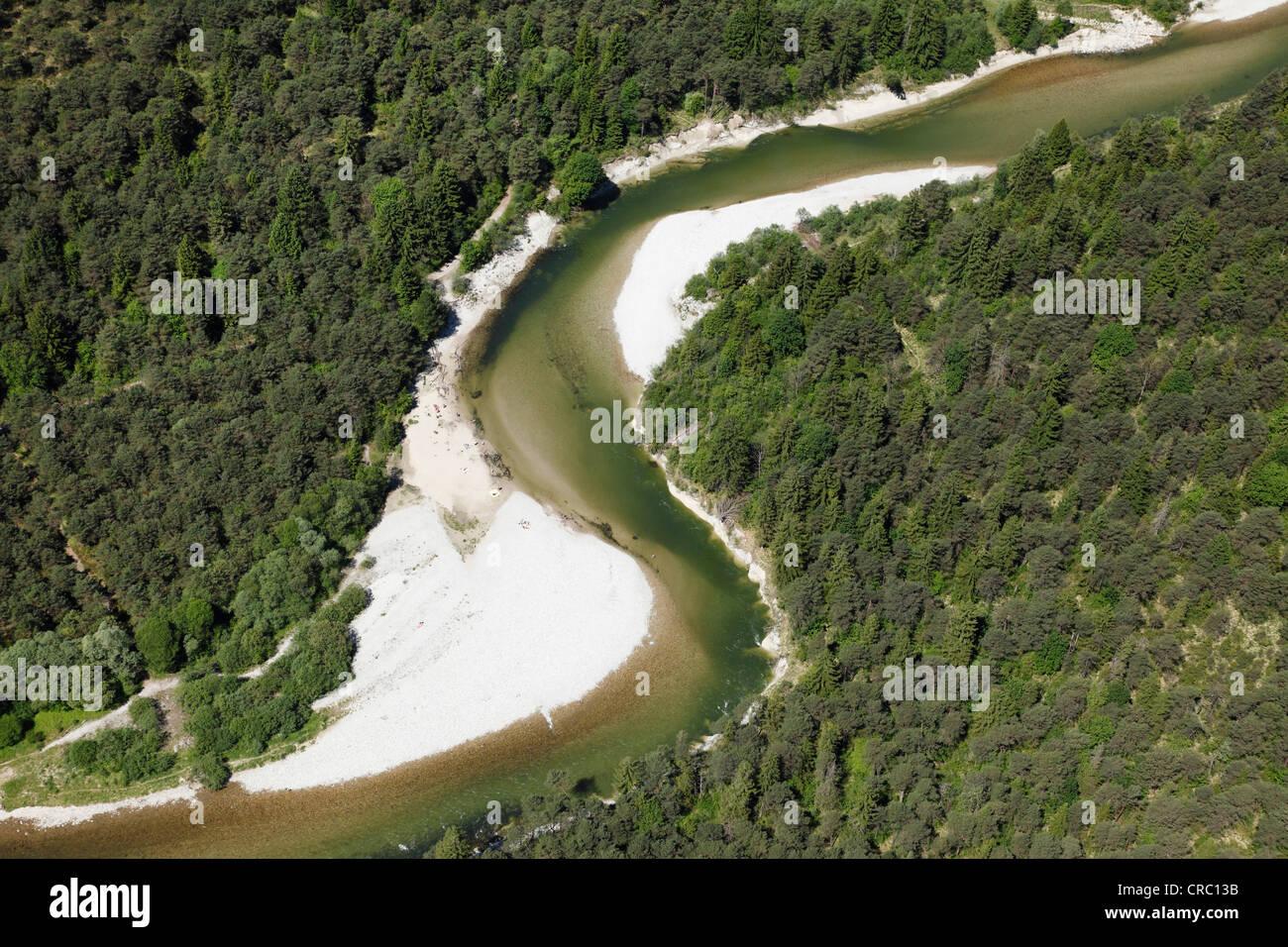Aerial view, Isar river with Pupplinger Au, floodplains, near Wolfratshausen, Upper Bavaria, Bavaria, Germany, Europe - Stock Image