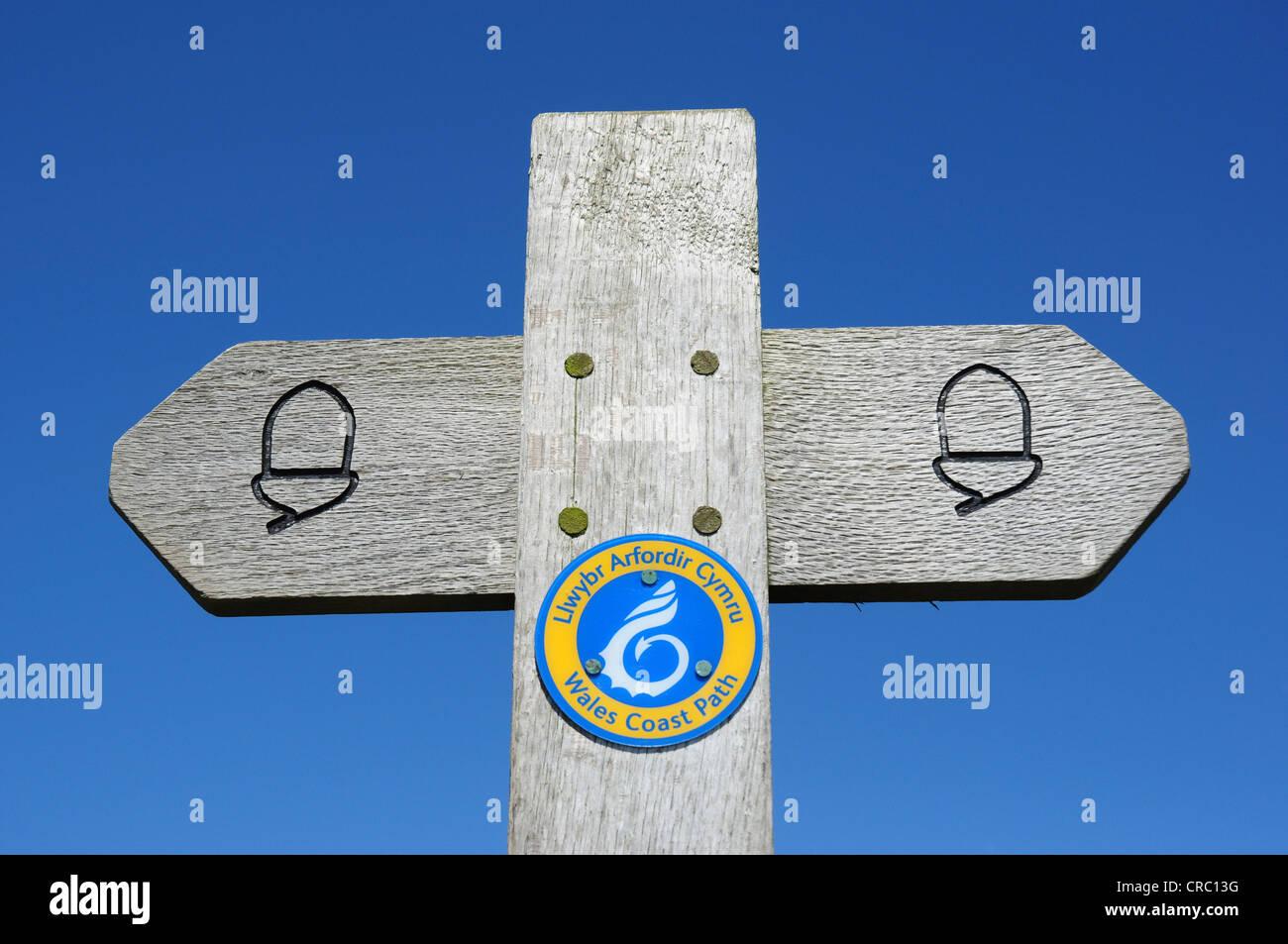 Wales Coast Path sign, Pembrokeshire, Wales, UK - Stock Image