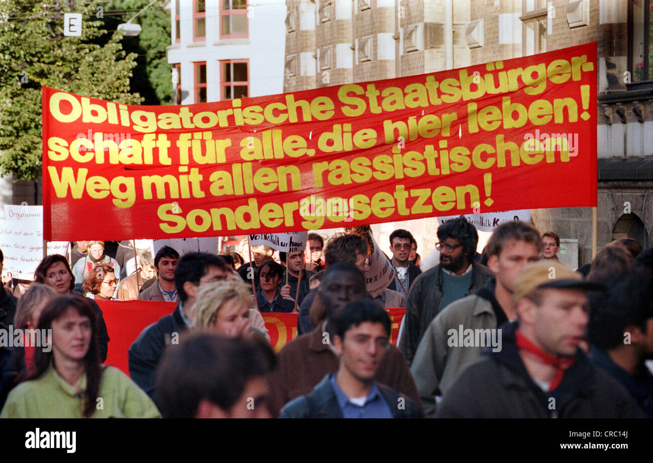 Demonstration against police brutality in Bremen, Germany - Stock Image