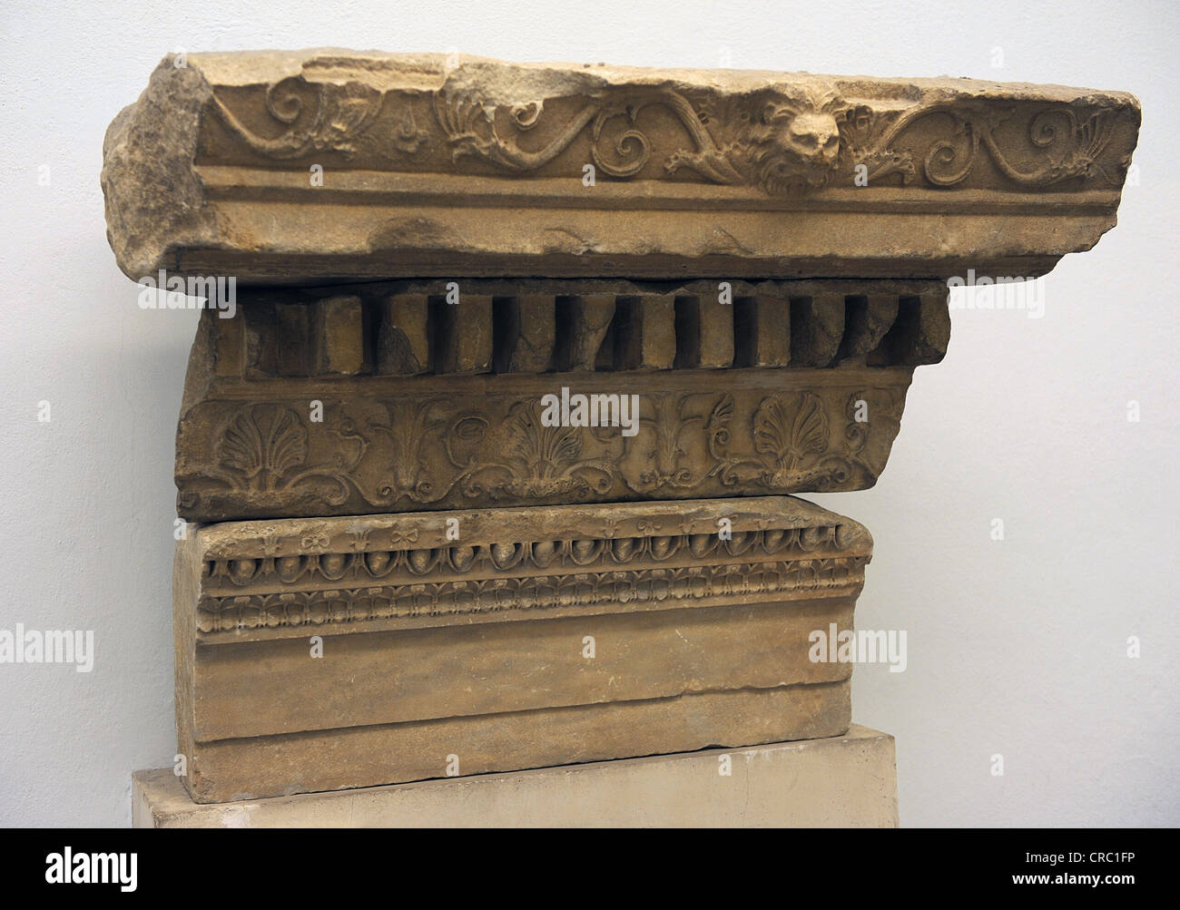 Fragment of an entablature of the sacrificial altar. Marble. 156 BC. Courtyard of the great altar of Pergamum. - Stock Image
