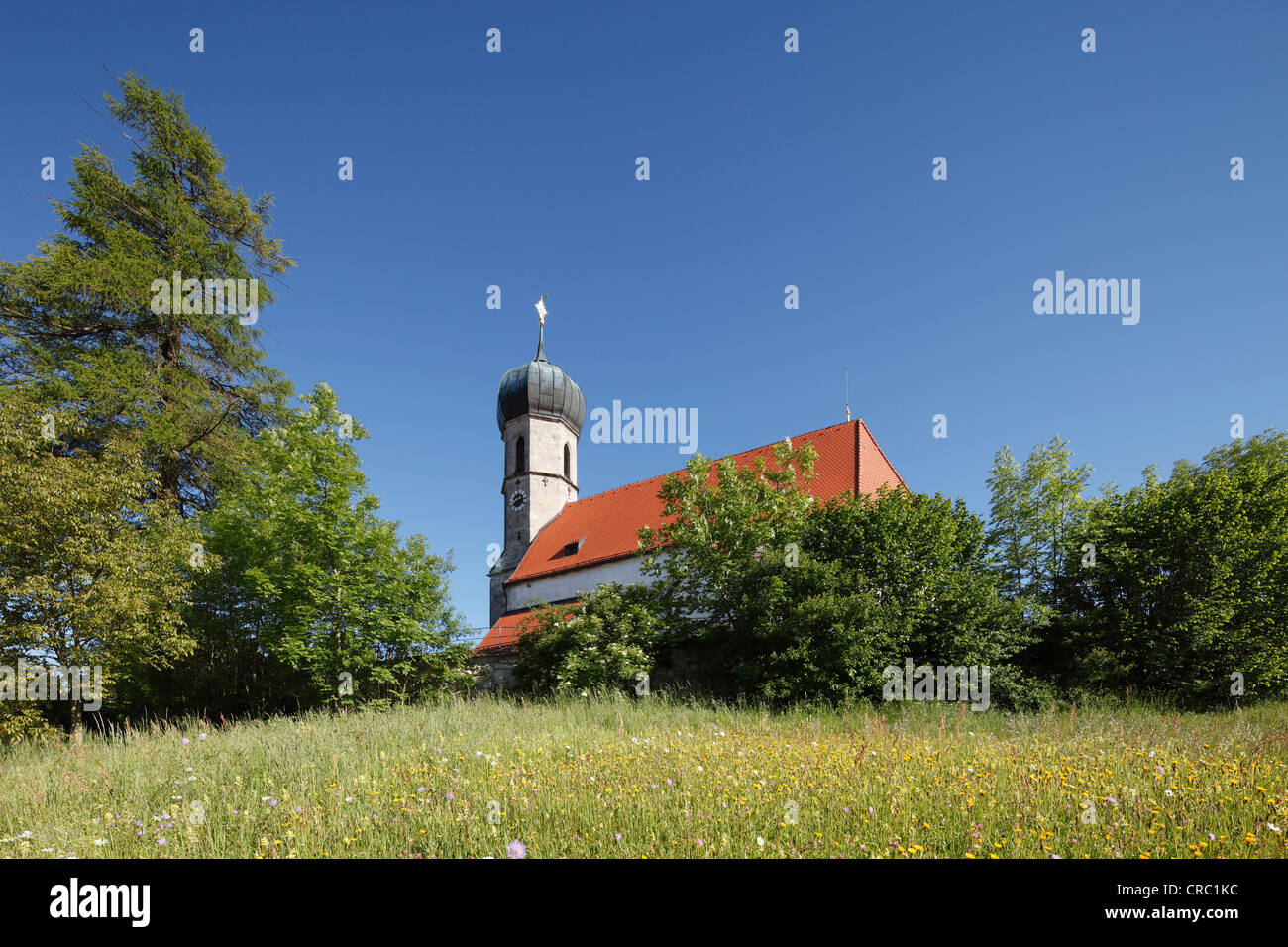 Church of St. Magdalene in Lochen, Dietramszell district, Upper Bavaria, Bavaria, Germany, Europe, PublicGround - Stock Image