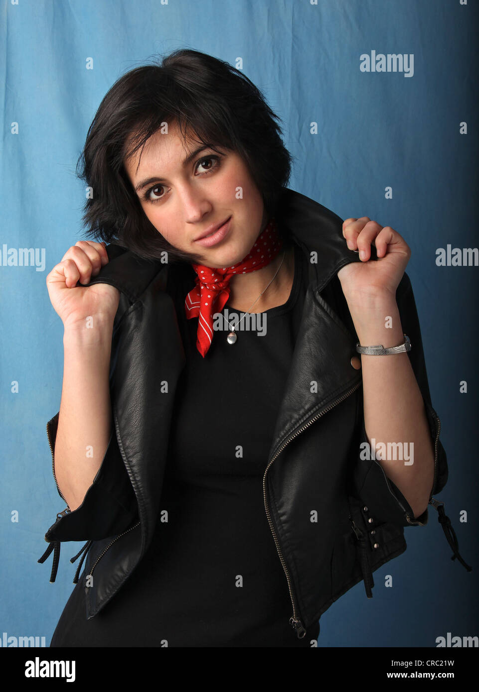 Jocelyn in a Grease-style biker outfit. - Stock Image