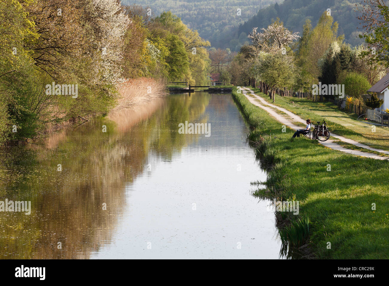 Ludwig-Donau-Main-Kanal or Ludwig Canal, Berching, Upper Palatinate, Bavaria, Germany, Europe - Stock Image