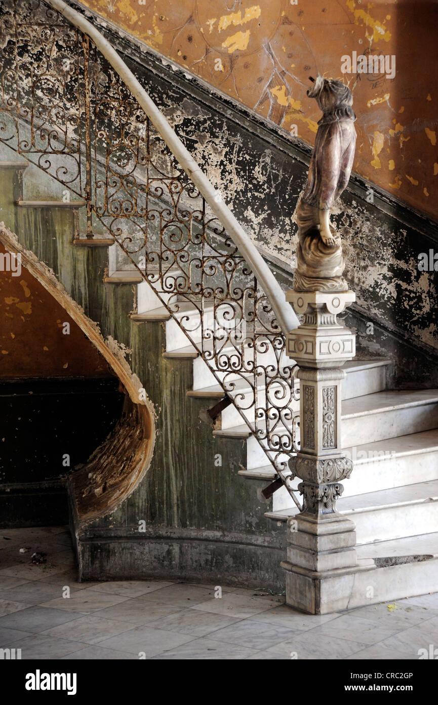 Staircase to the restaurant, Paladar La Guarida, city centre of Havana, Centro Habana, Cuba, Greater Antilles, Gulf - Stock Image