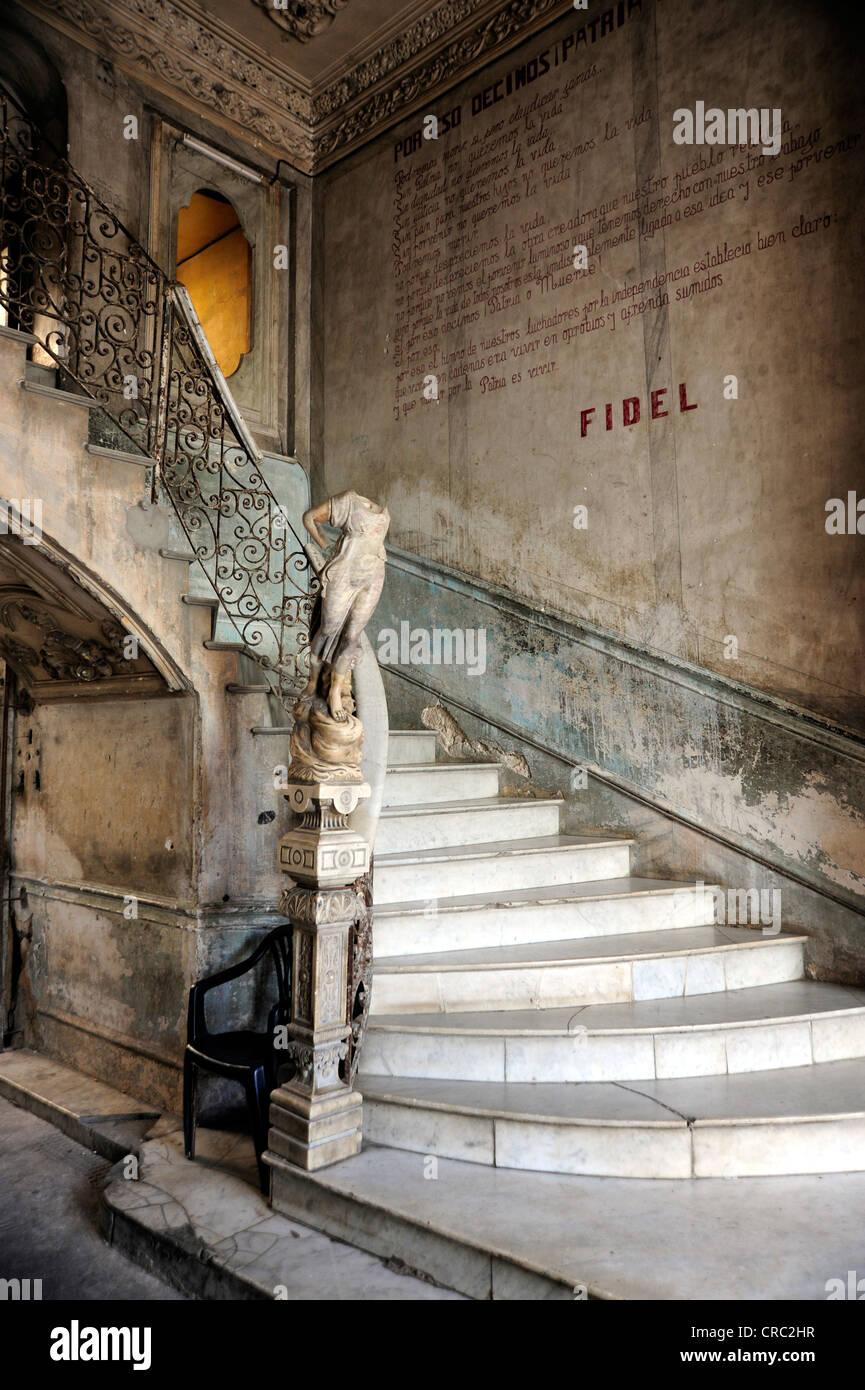 Staircase to the restaurant, Paladar La Guarida, city center of Havana, Centro Habana, Cuba, Greater Antilles, Gulf - Stock Image